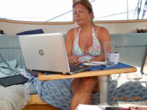 Paula vetting my blog entry before publication