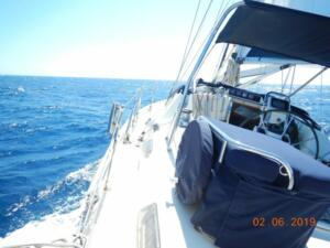 Spirited sail off Giglio touching 8 knots. An unexpected blow !