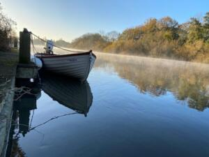 Peaceful mooring in the morning mist - the better pictures are not taken by me!