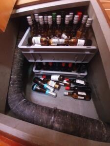 The wine cellar in the bilge.