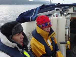 Paula and Lucy feeling the cold in Scotland on the Caledonian Canal