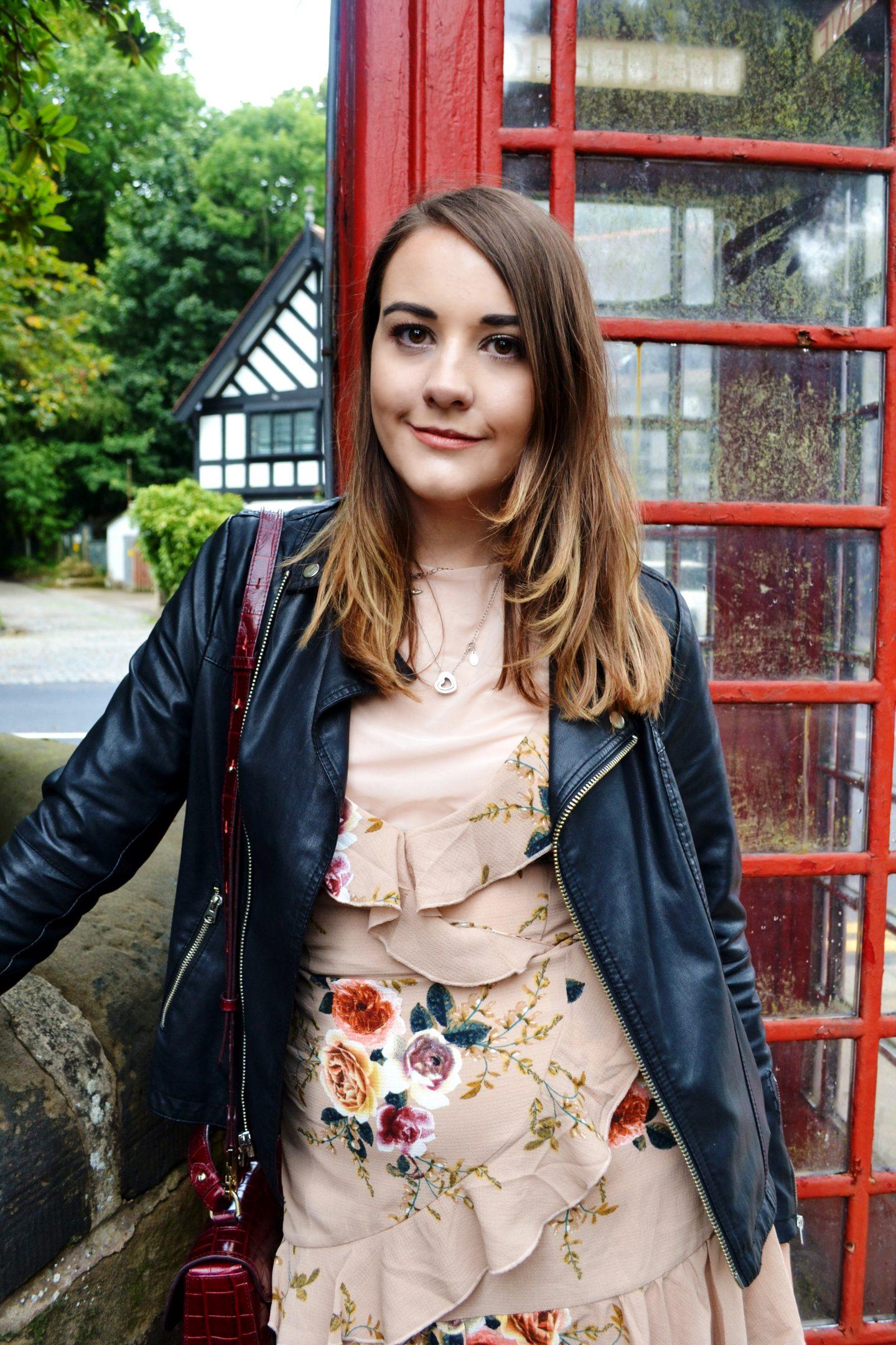 ruffles missguided dress leather jacket fashion