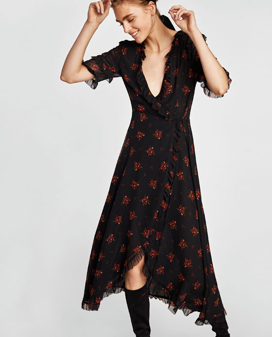 zara wrap midi floral crossover dress