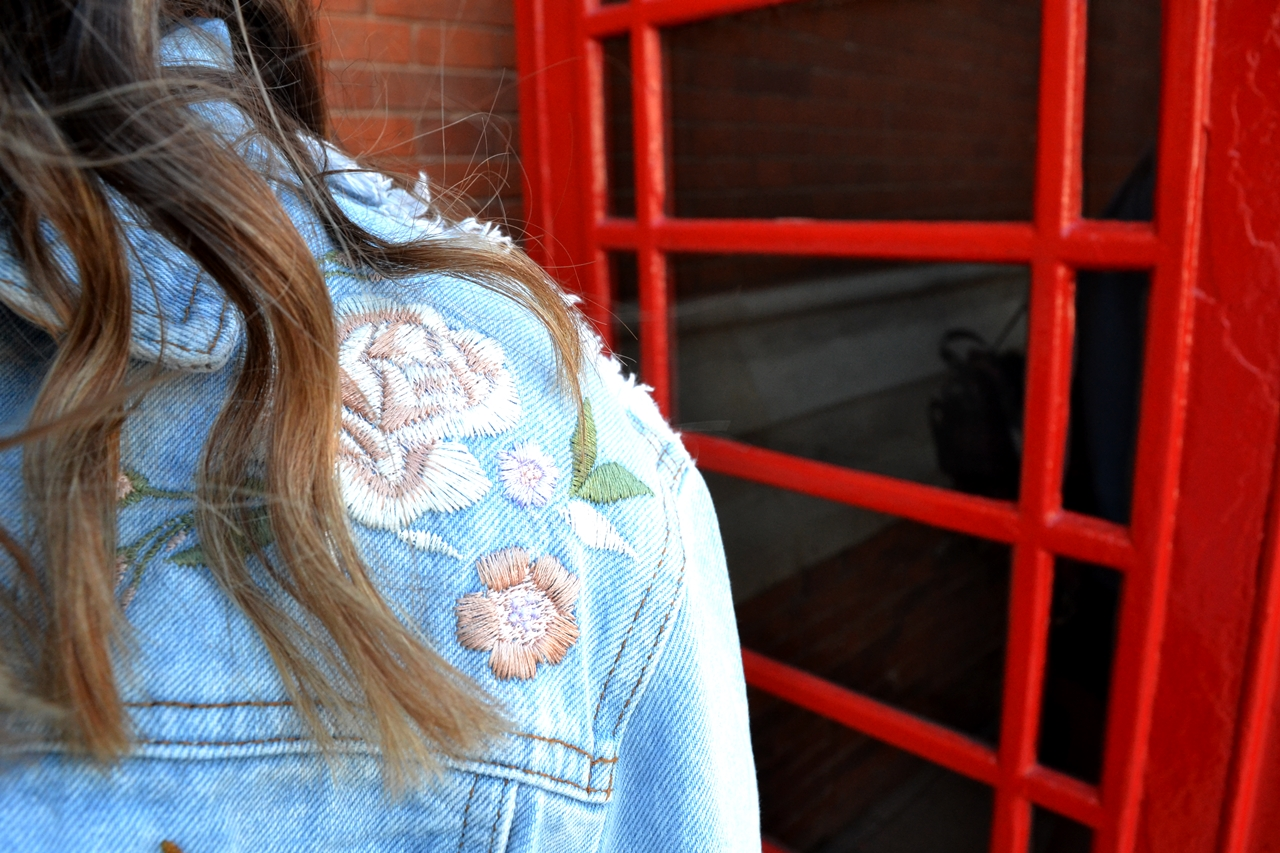 stitched embroidery denim jacket style