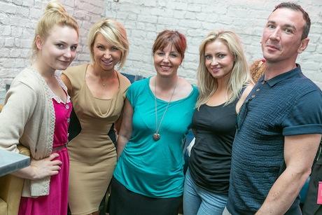 (L-R) Annie Warren & Michelle Eagleton, Rococo PR; Michelle Barratt, Nine Lives Media; Nikki Dean, TV Presenter & Byron Evans, Film Director