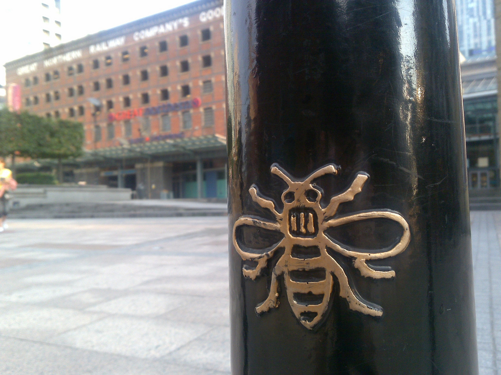 Mancunians queue to get Manchester Bee tattoo