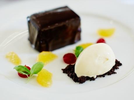 Chocolate  torte, chocolate soil, orange ice cream (c) David Lindsay