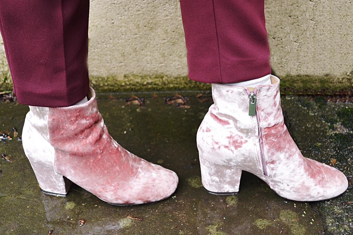 spring tailoring trend pink velvet rachelle boots asos