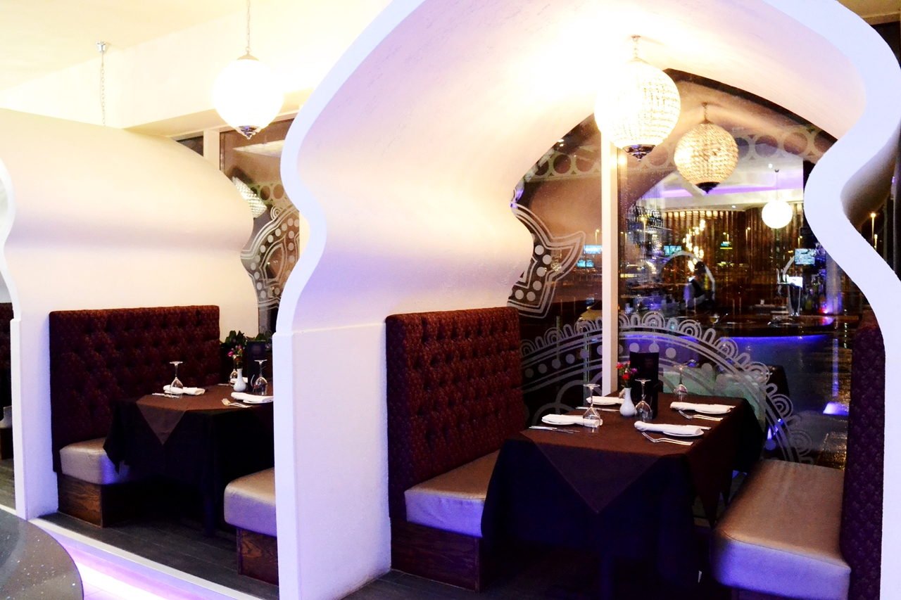 indian restaurant decor purple lounge