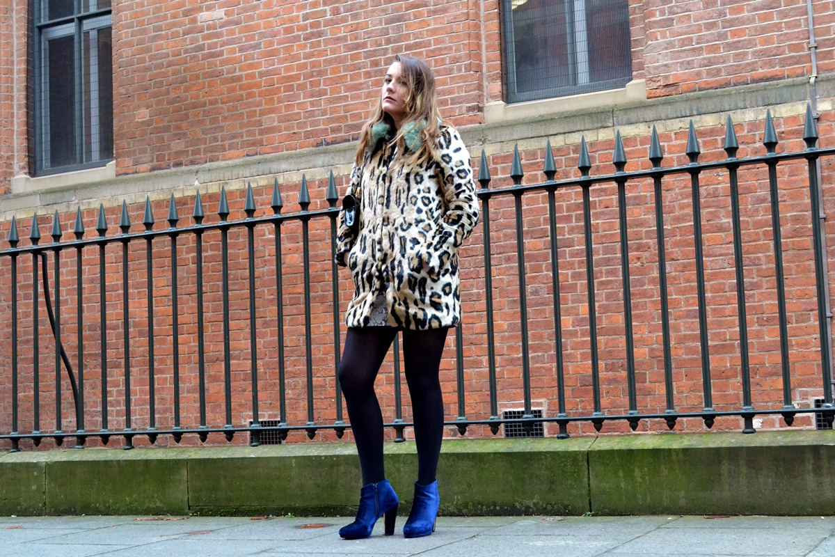 trend editorial urbancode asos leopard turquoise collar faux fur coat blue velvet new look gold boots