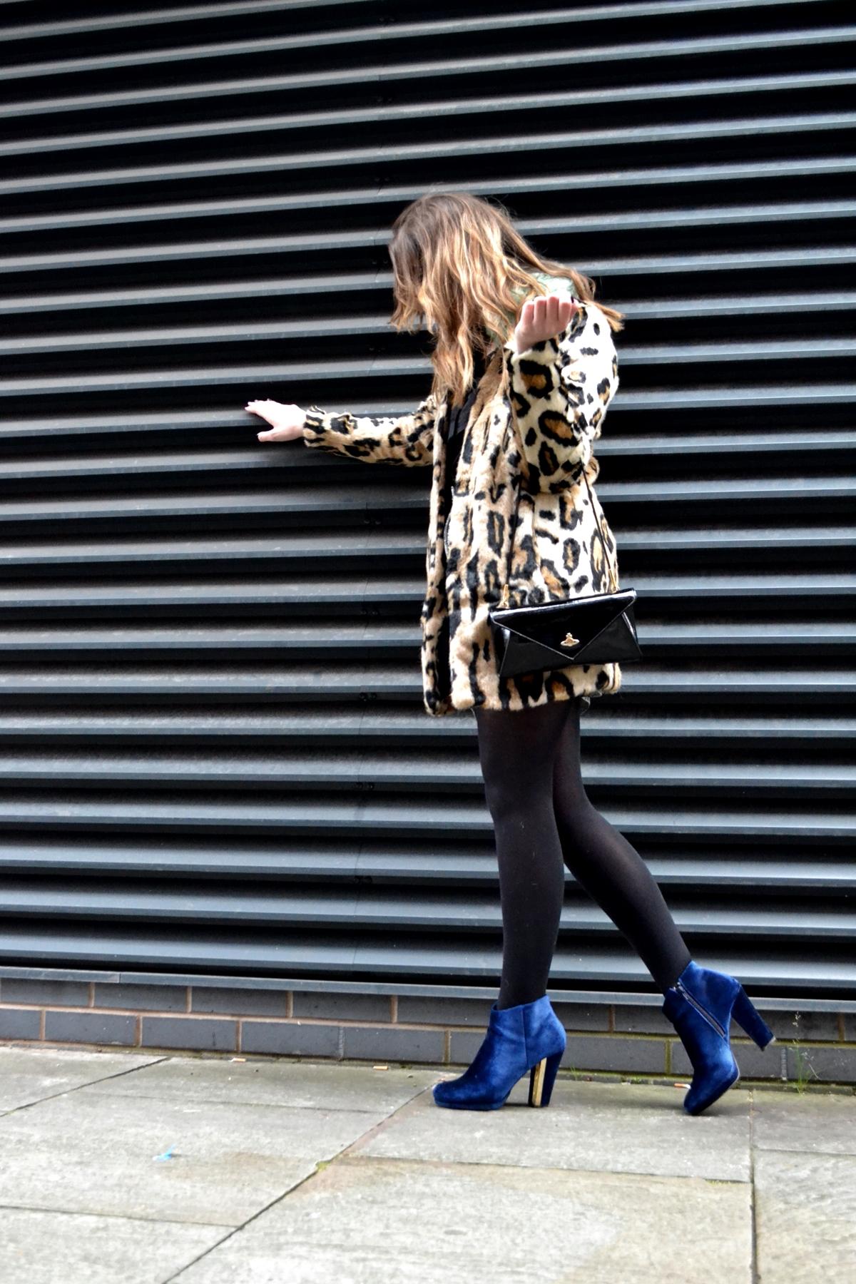 trend editorial photoshoot manchester leopard faux fur coat urbancode asos blue velvet new look boots vivienne westwood clutch bag