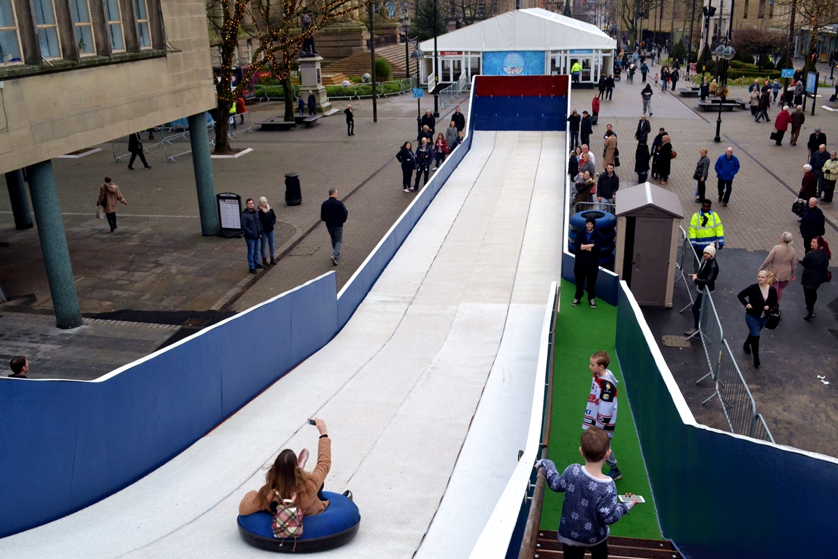 bolton council winter wonderland snow slide