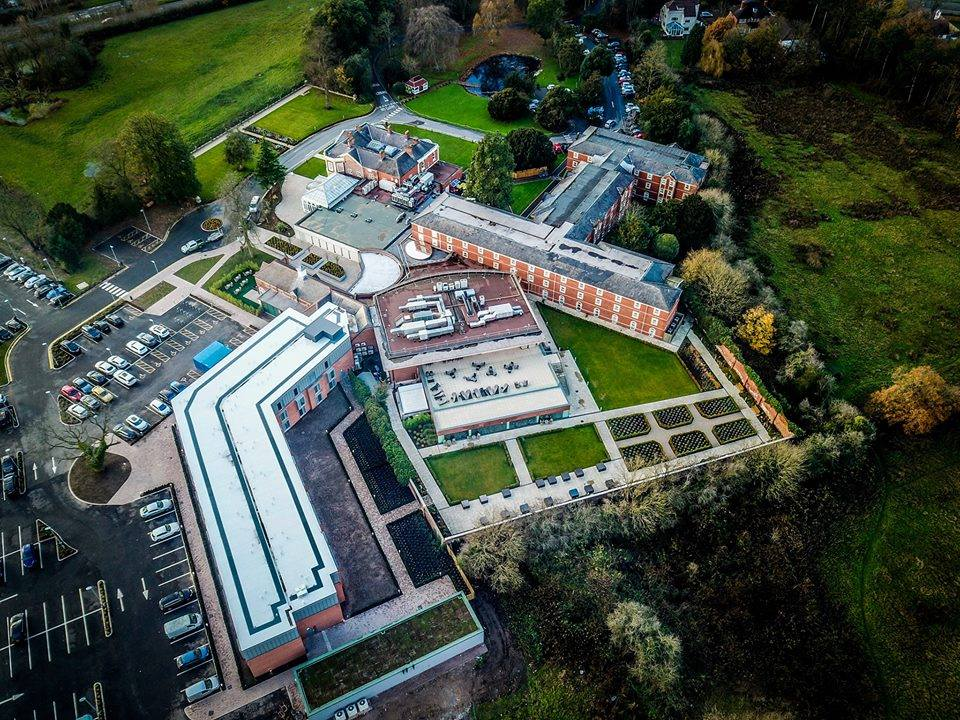 doubletree chester hotel aerial view