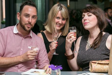 (L-R) Drew Leigh, Selfridges with Gwen Oakden, Manchester Art Gallery and friend Caroline Horton