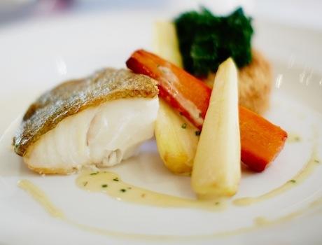 Halibut, prawn potato cake, kale, noilly prat veloute (c) David Lindsay