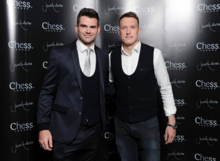 James Anderson with Manchester United's Phil Jones