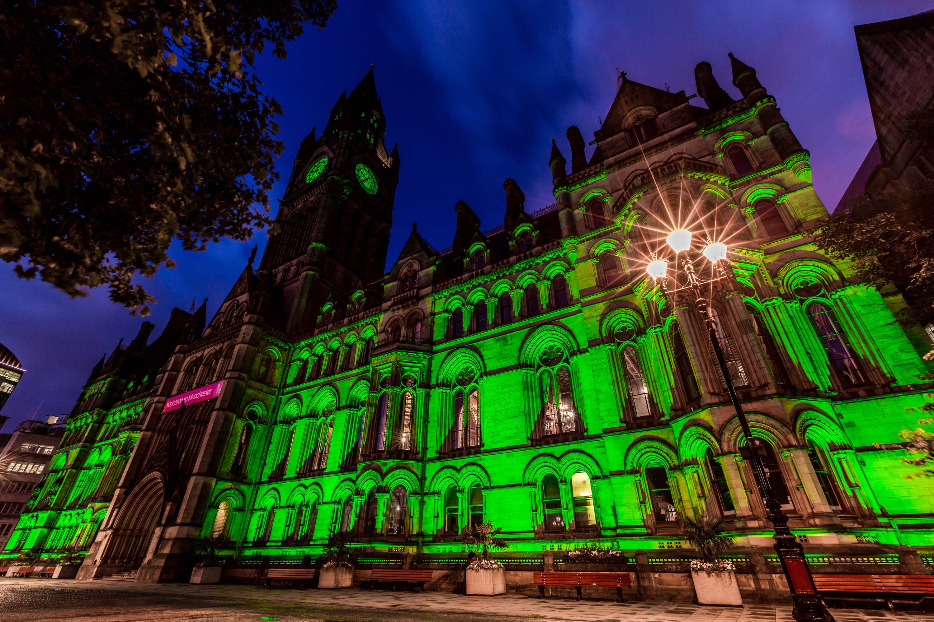 Halloween in the City Manchester Lit Green