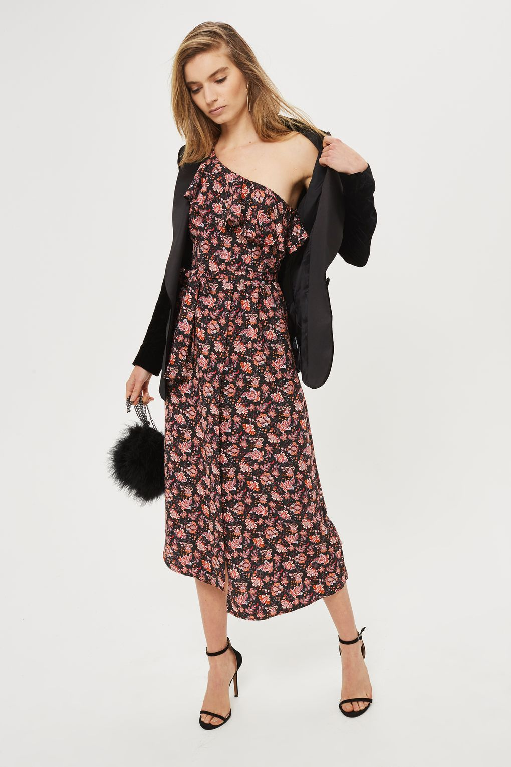 topshop off shoulder one paisley midi dress