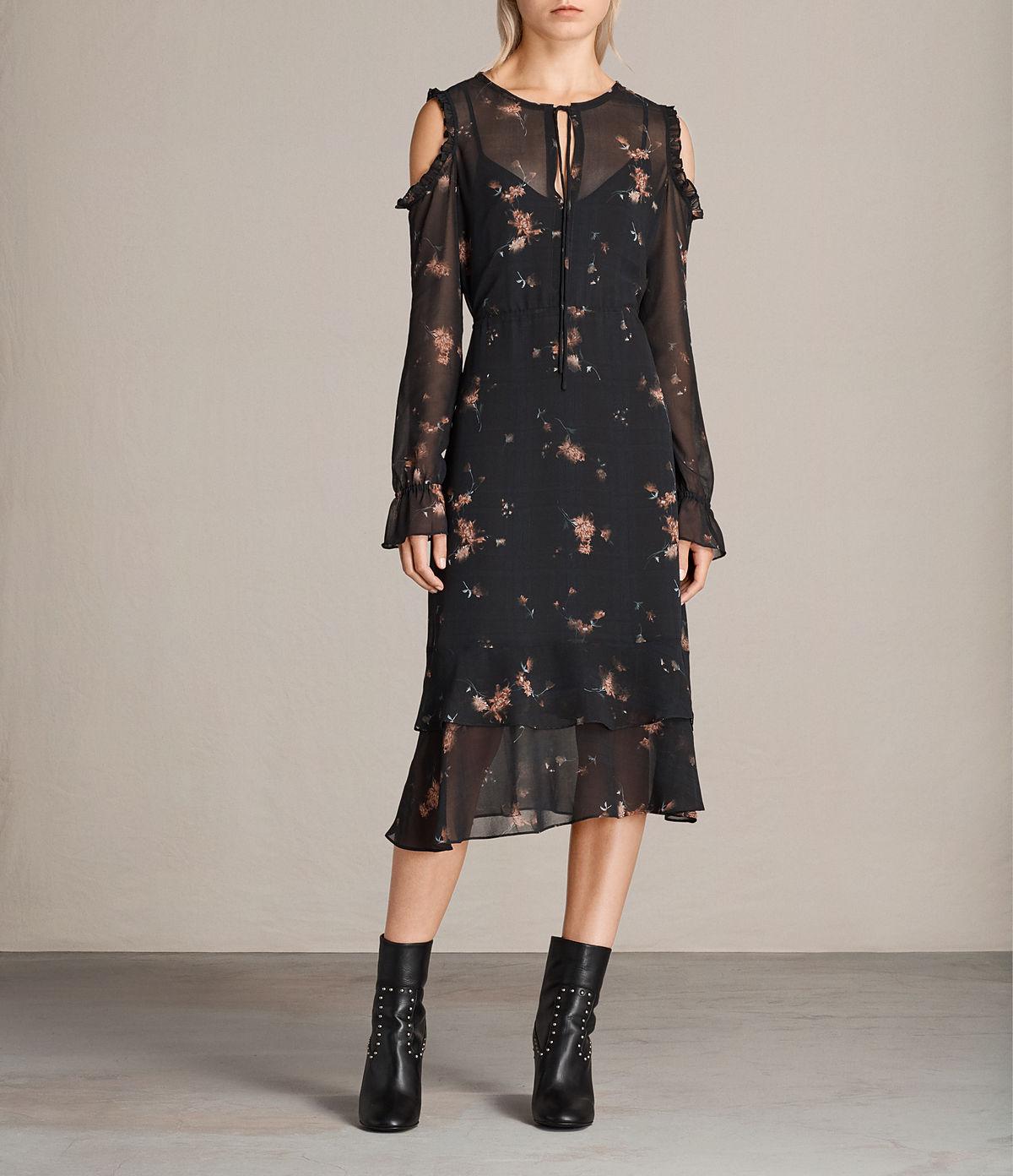 all saints floral mesh midi cut out dress