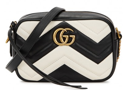 GG Marmont gucci quilted bag harvey nichols black white