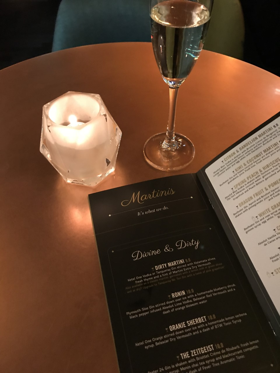 dirty martini manchester menu