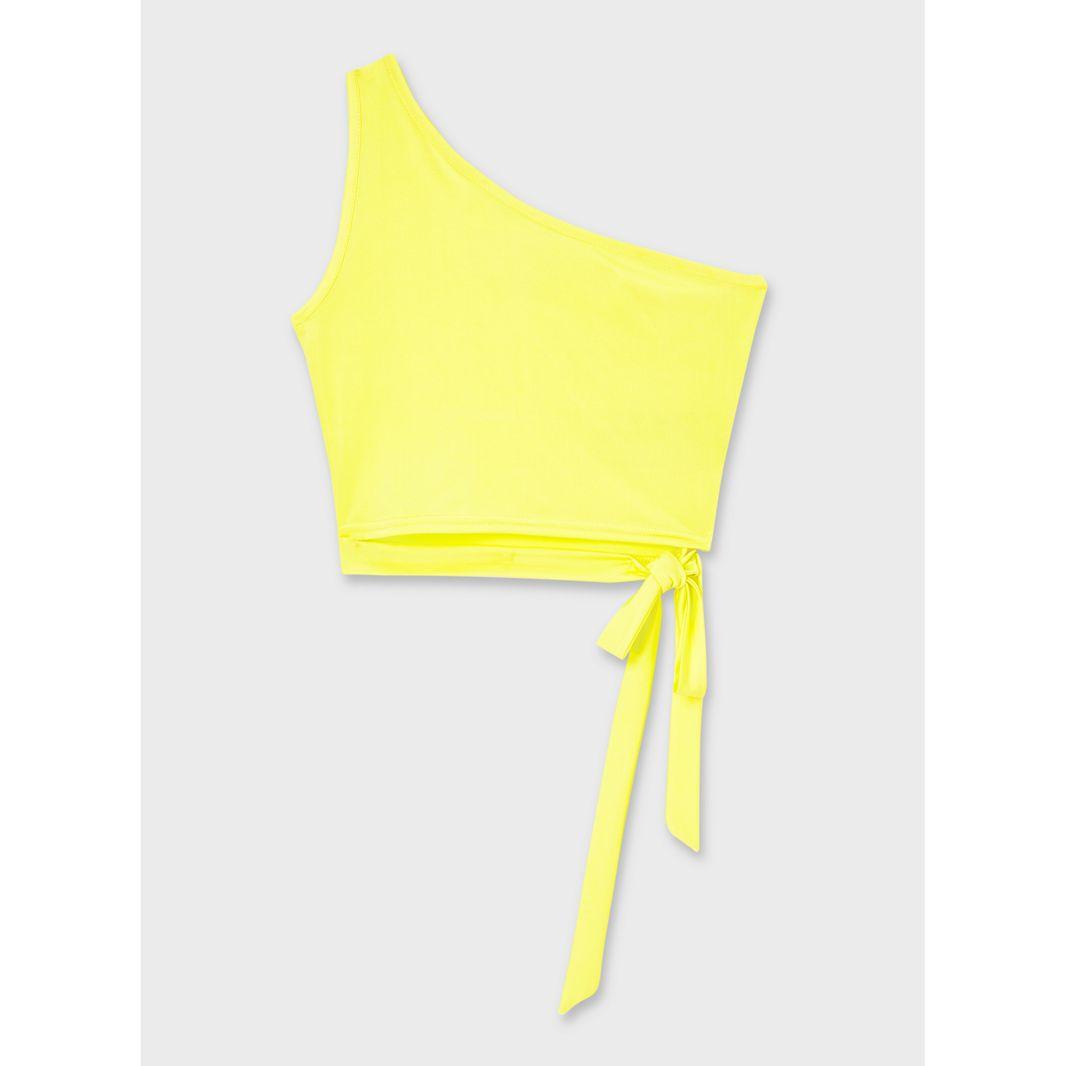 miss selfridge yellow one shoulder top