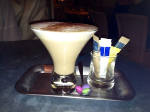 After-dinner coffee with complimentary Smartie shot