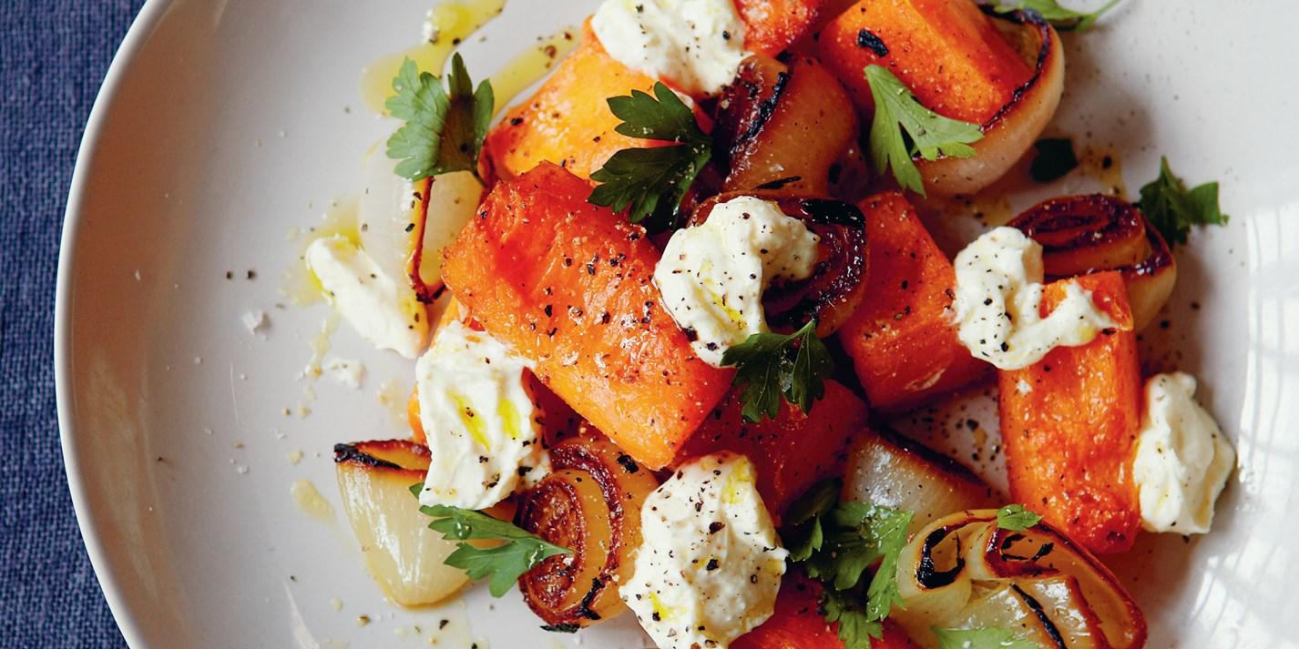 roast pumpkin and onion charred salad