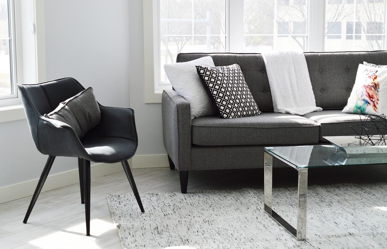 monochrome living room