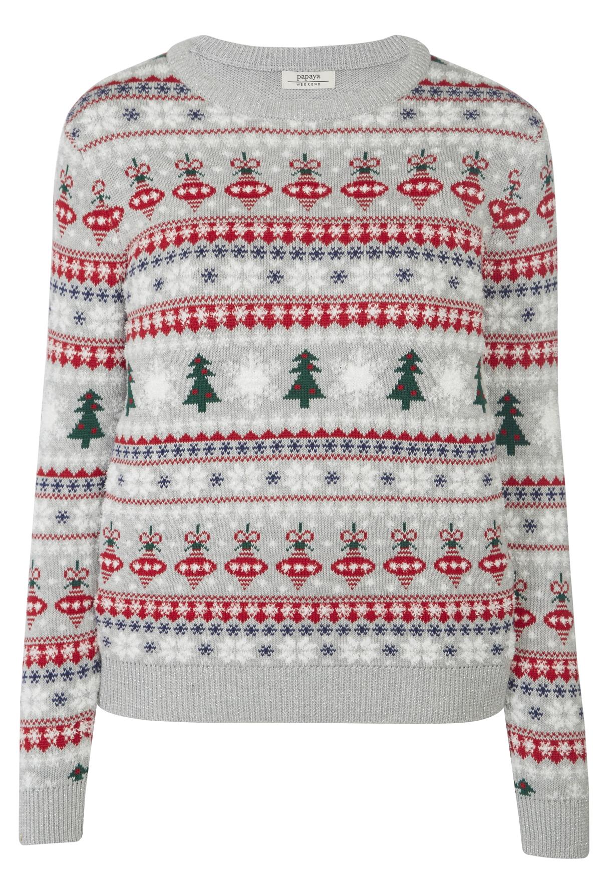 christmas tree print patterned knit jumper matalan grey white