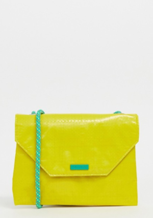 neon yellow pull bear bag