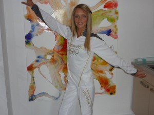 Claire Dixon in her Olympic Suit