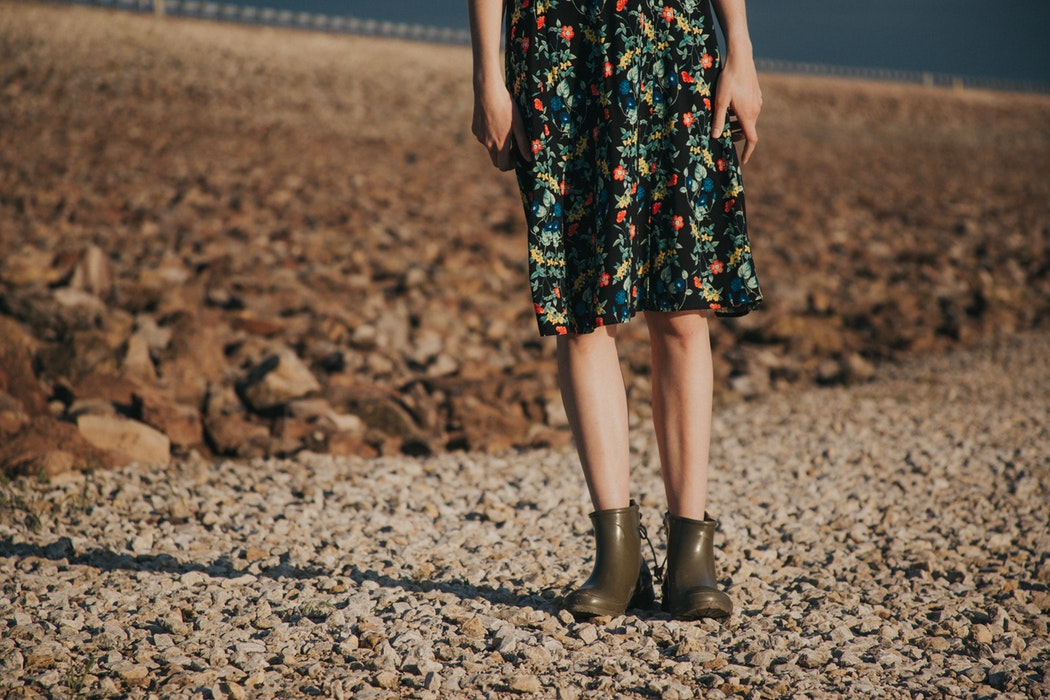 floral skirt boots