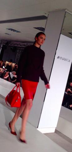 red skirt and bag
