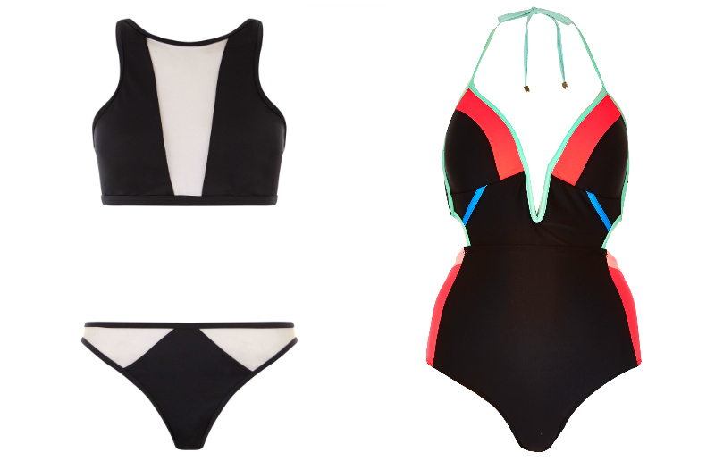 New Look Black Mesh Panel Bikini Set. River Island Black Colour Block Cut Out Swimsuit