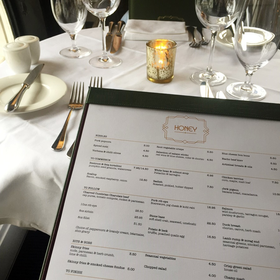 hotel gotham manchester honey restaurant menu ss16