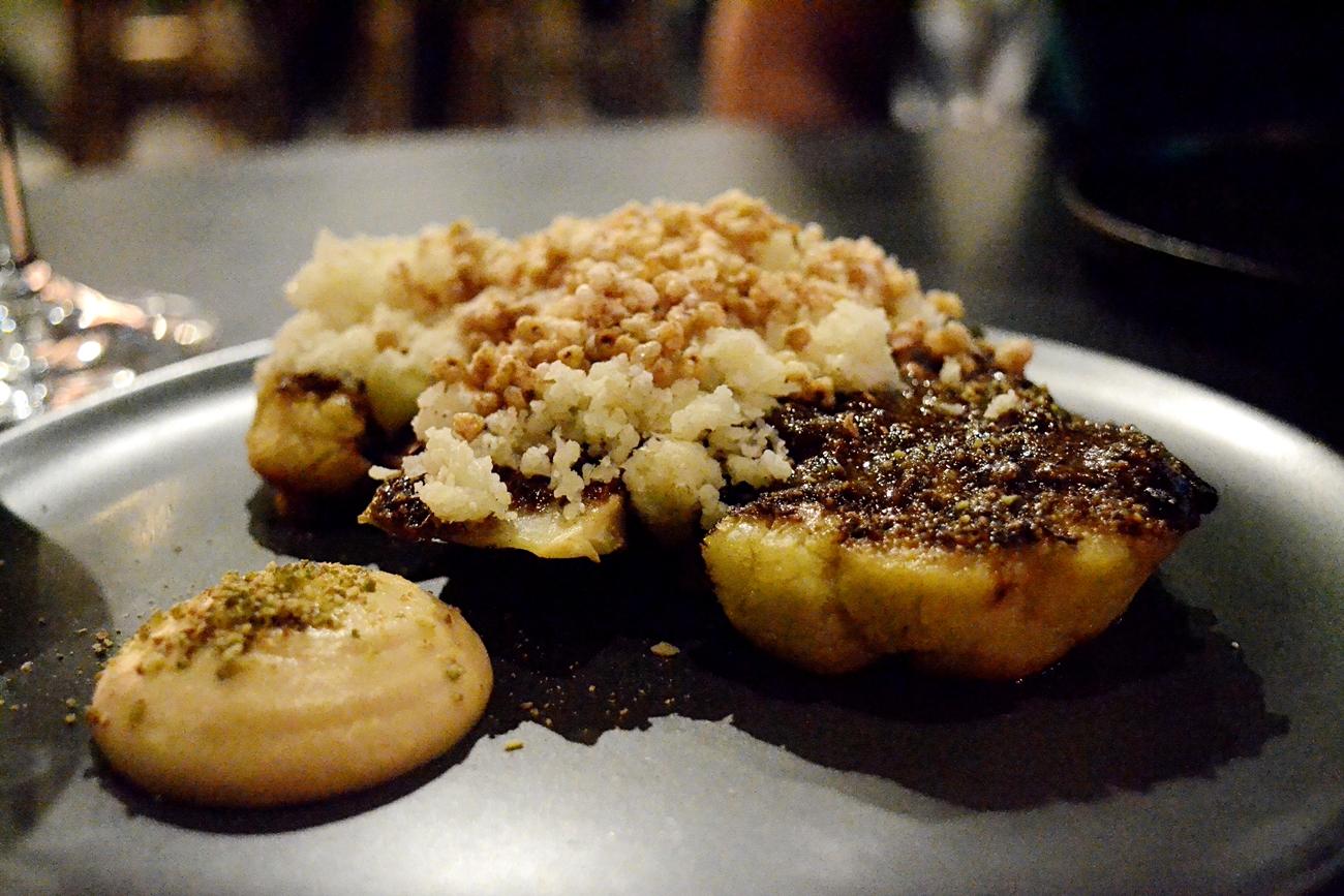 Roast Cauliflower, Pumpkin Seed Butter Puffed Buckwheat