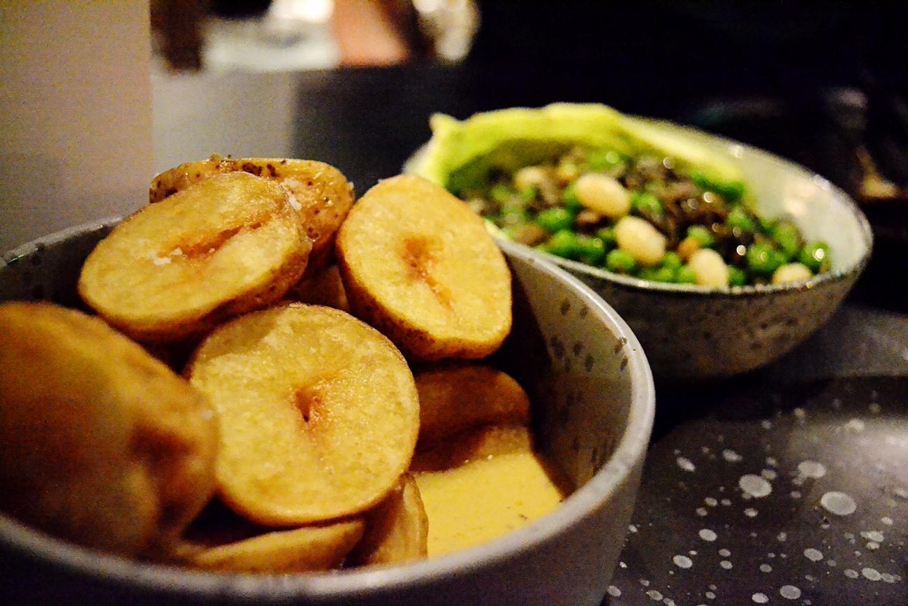 fermented potatoes english mint peas ricotta