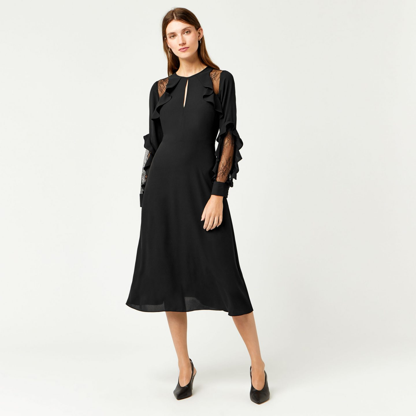 warehouse ruffle lace midi black dress
