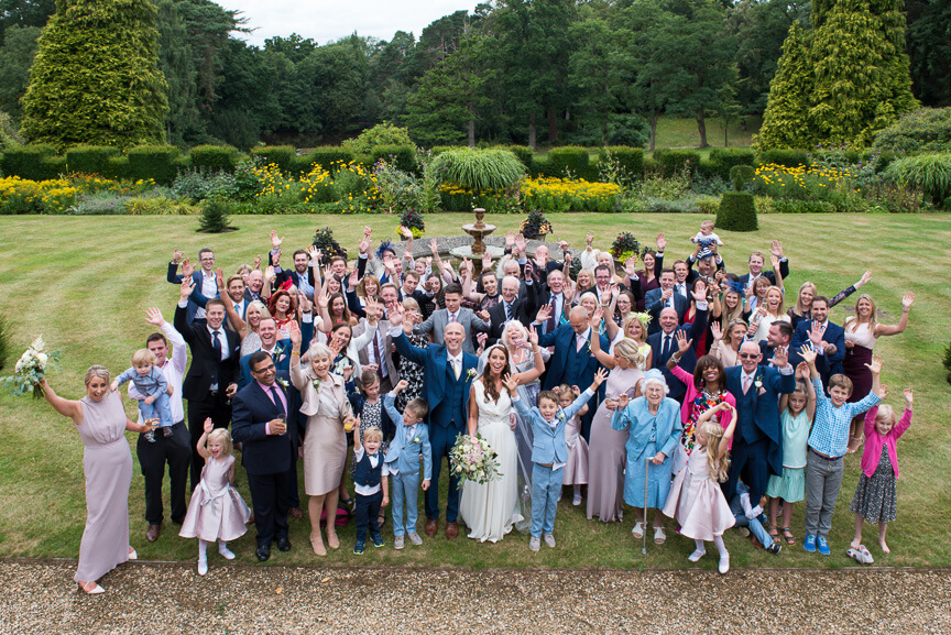 wedding party at tylney hall
