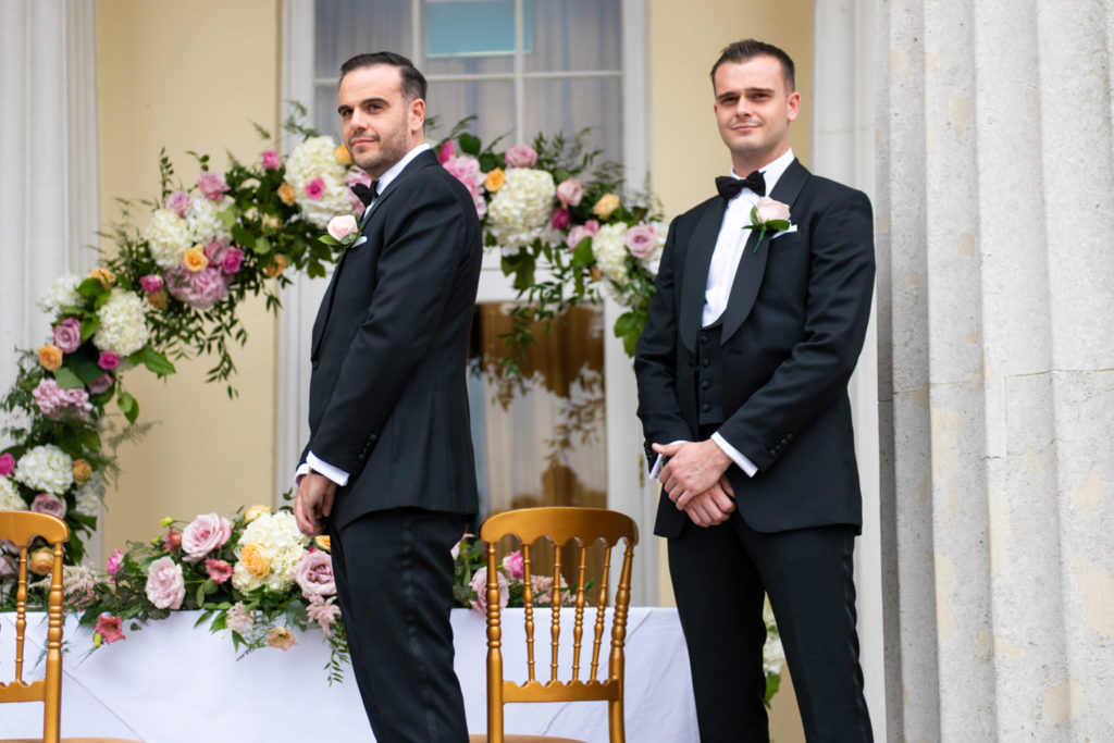 groom and best man at Stoke Park Wedding