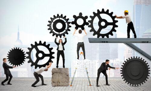 Teamwork of businesspeople