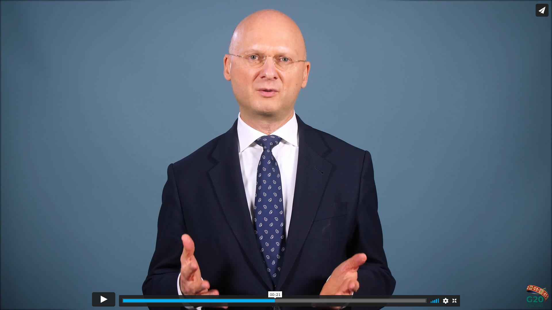 Dr Marcus Pleyer (FATF) addressing virtual G20