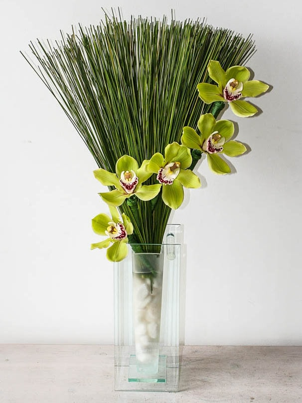 Contract Flowers for the office, with orchids and bear grass created by north London florist Garland