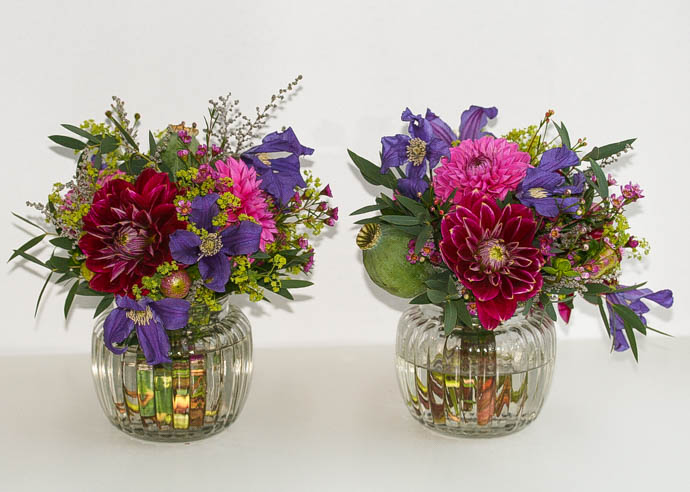 Beautiful small vases of flowers delivered in North London, created by Garland