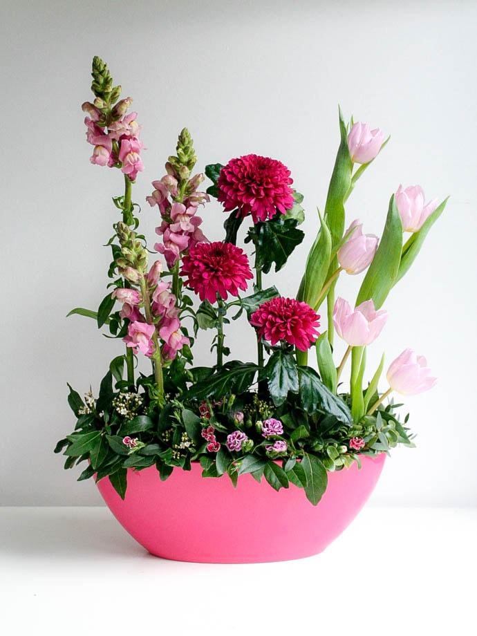 Pink line arrangement with snapdragons, tulips and mums for Mother's Day, created by Garland