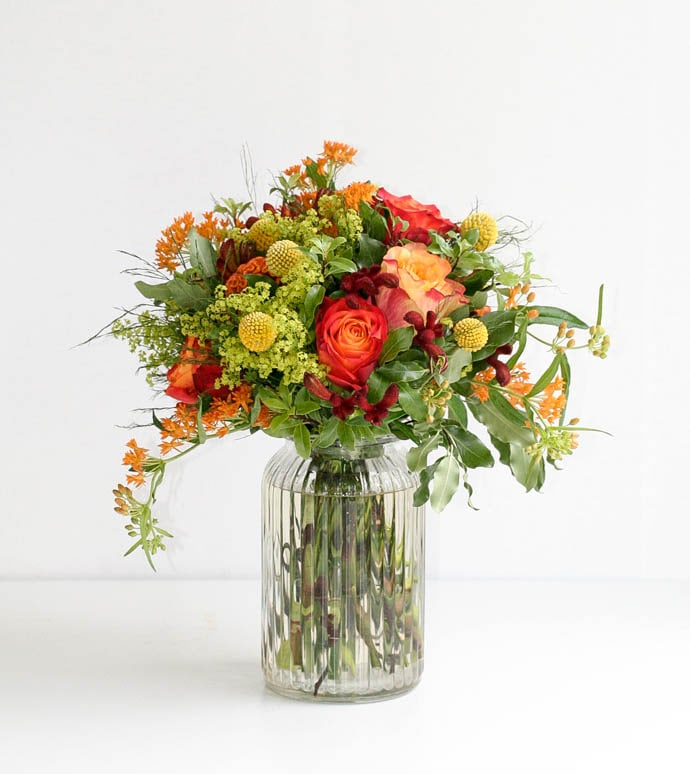 Bright and sunny flowers for a bright and sunny day, arranged by Garland, north London florist