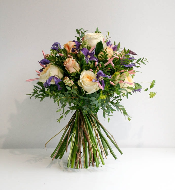 Birthday Bouquet, yellow roses and clematis with tuberose and serine