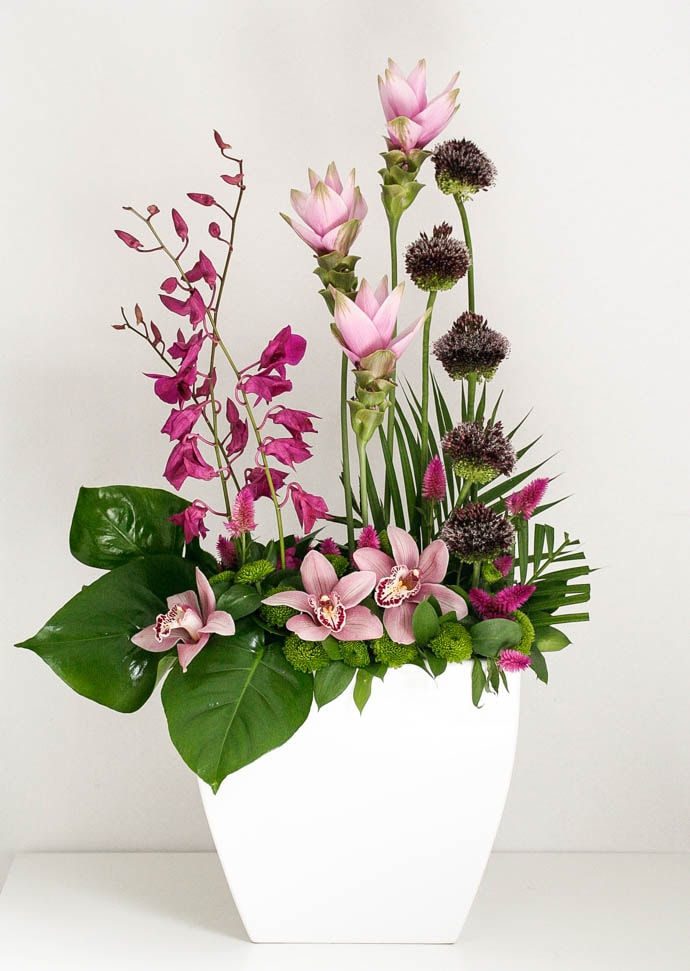 Cymbidium, allium and curcuma line arrangement for the office, created by Garland