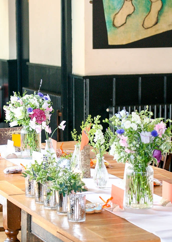 Relaxed meadow flowers for a pub wedding reception in Tufnell Park, created by Garland, North London Florist